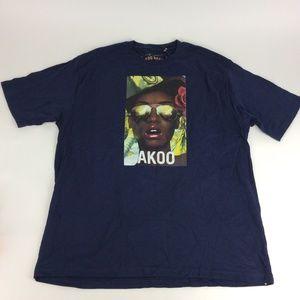 Akoo New Mens Navy Graphic Sunglasses Shirt